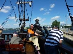 Ich auf einem Piratenschiff auf der Motlau
