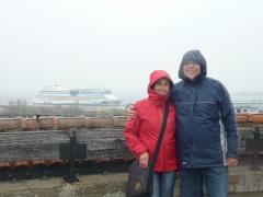Die AIDA im Nebel verschmunden